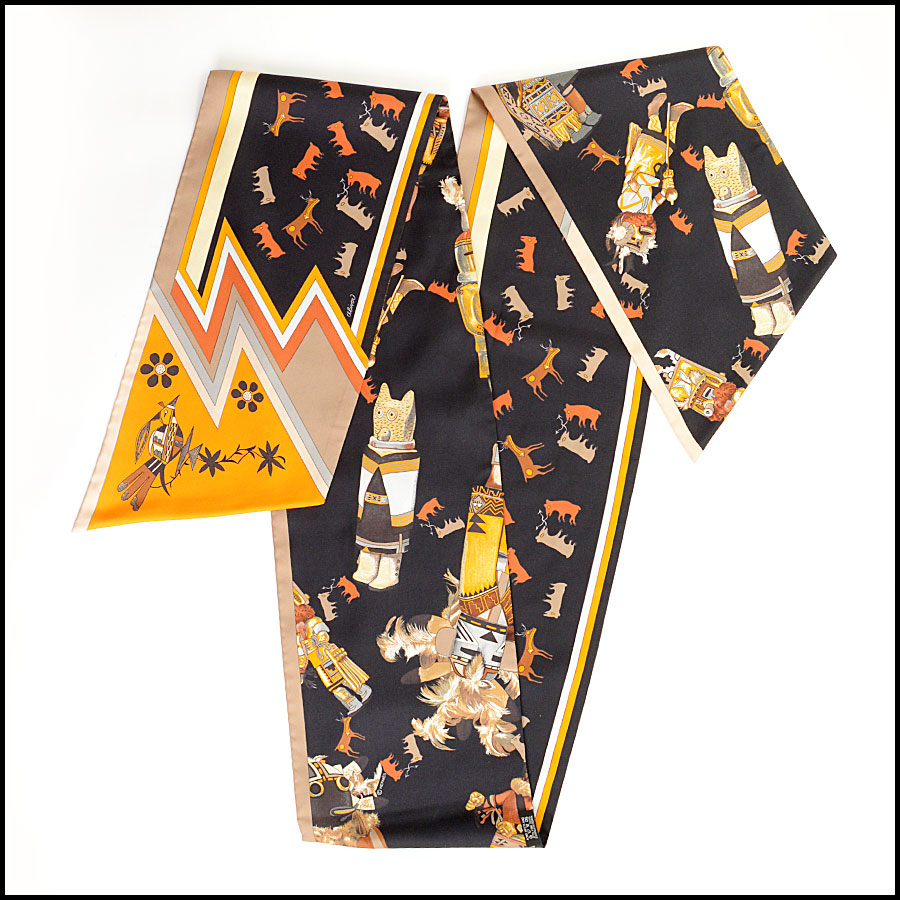 RDC10993 Hermes Multicolor Kachinas Maxi Twilly Scarf