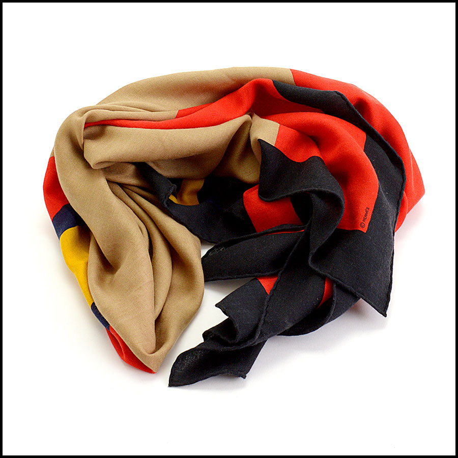RDC10435 Hermes Multicolor Cashmere/Silk Wrap GM fold