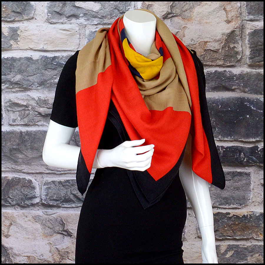 RDC10435 Hermes Multicolor Cashmere/Silk Wrap GM model