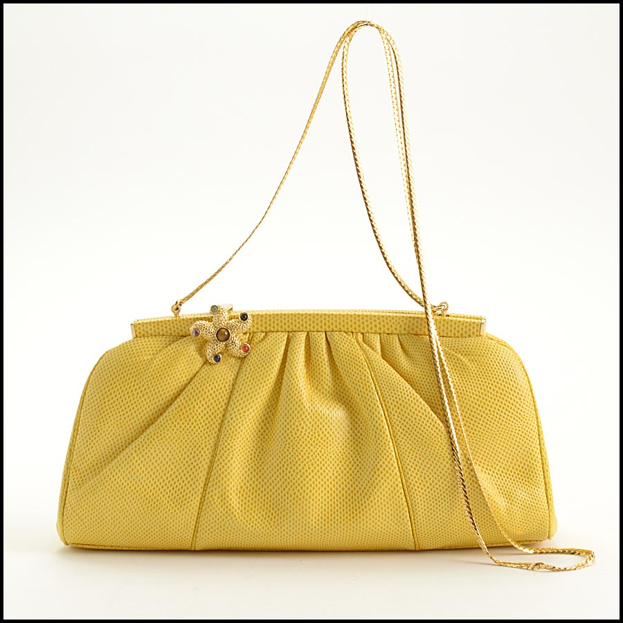 RDC11276 Judith Leiber Yellow Karung Starfish Bag