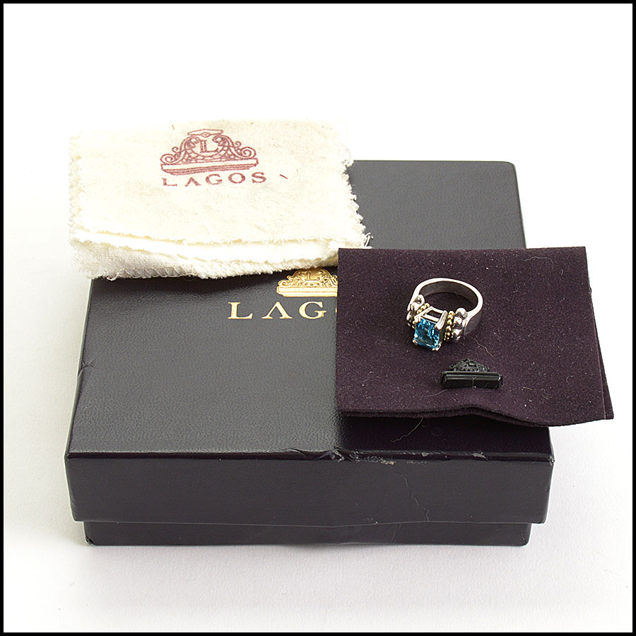 RDC10819 Lagos Blue Topaz Sterling/18K Gold Ring includes 1