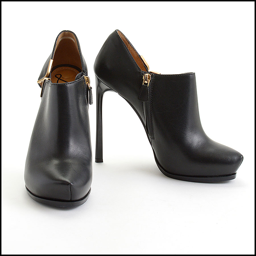 RDC11044 Lanvin Black Leather High Heel Booties