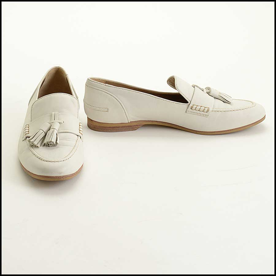 RDC11416 Lanvin Ivory Leather Loafers Size 38