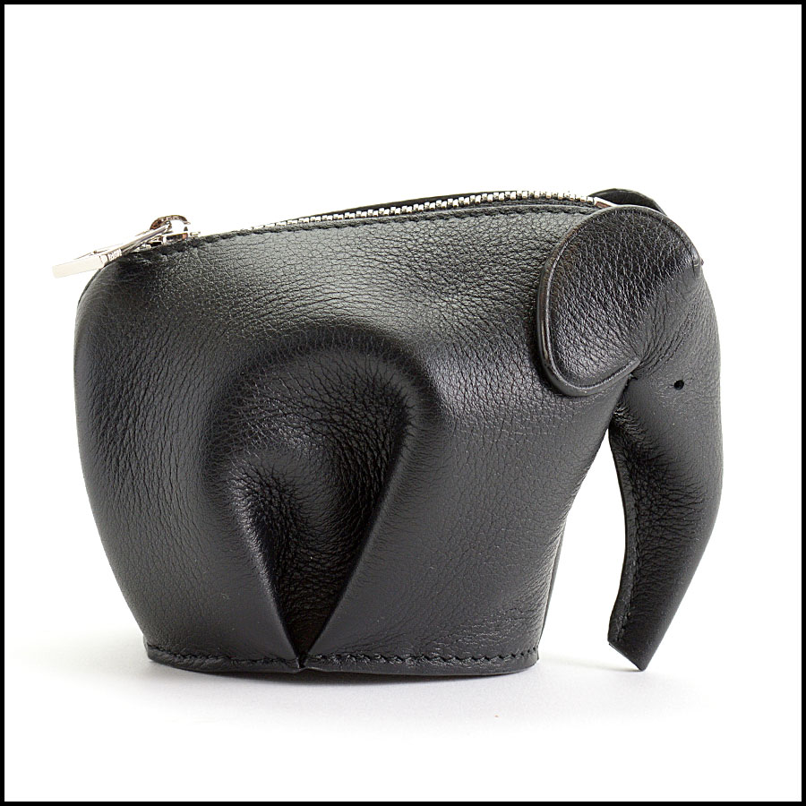 RDC11054 Loewe Black Leather Elephant Coin Pouch back