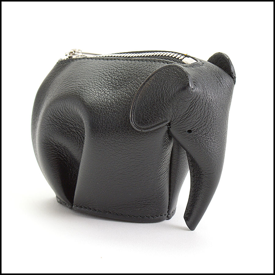 RDC11054 Loewe Black Leather Elephant Coin Pouch side