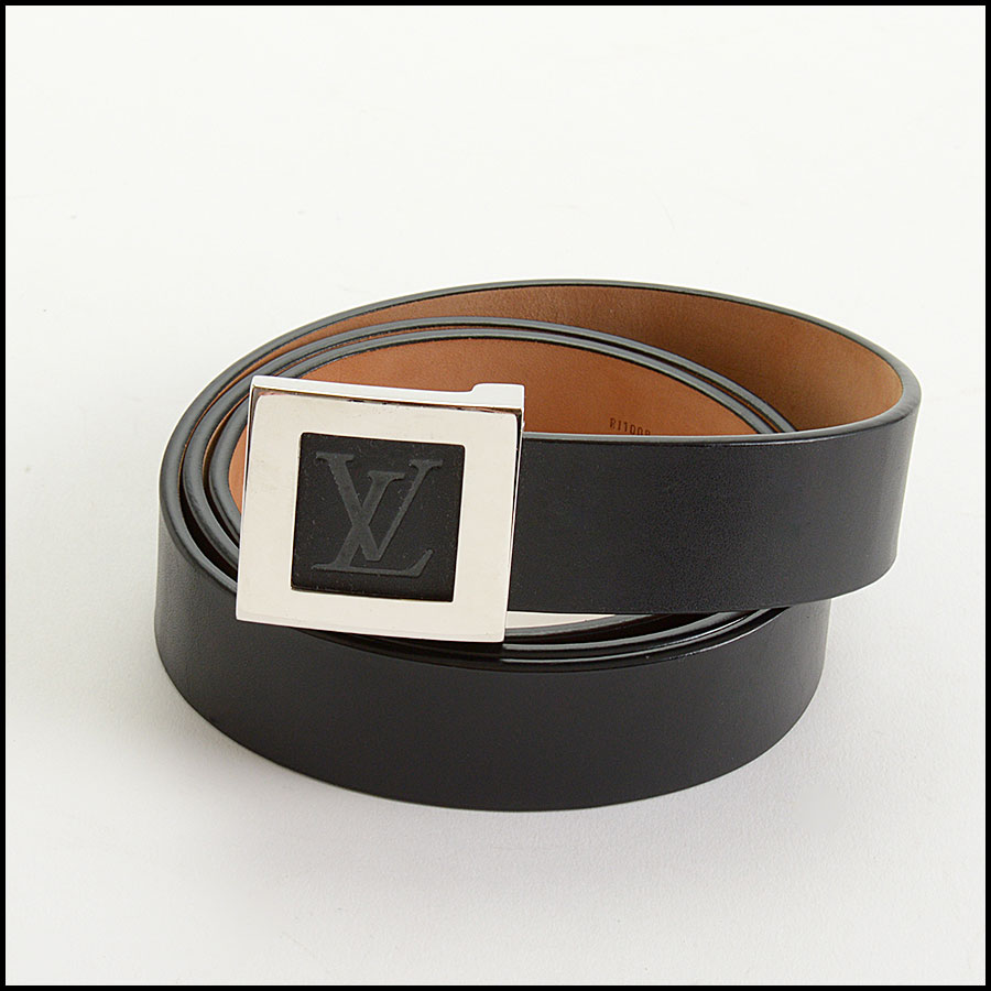 RDC10991 Louis Vuitton Black Leather Ceinture LV Stamp Belt