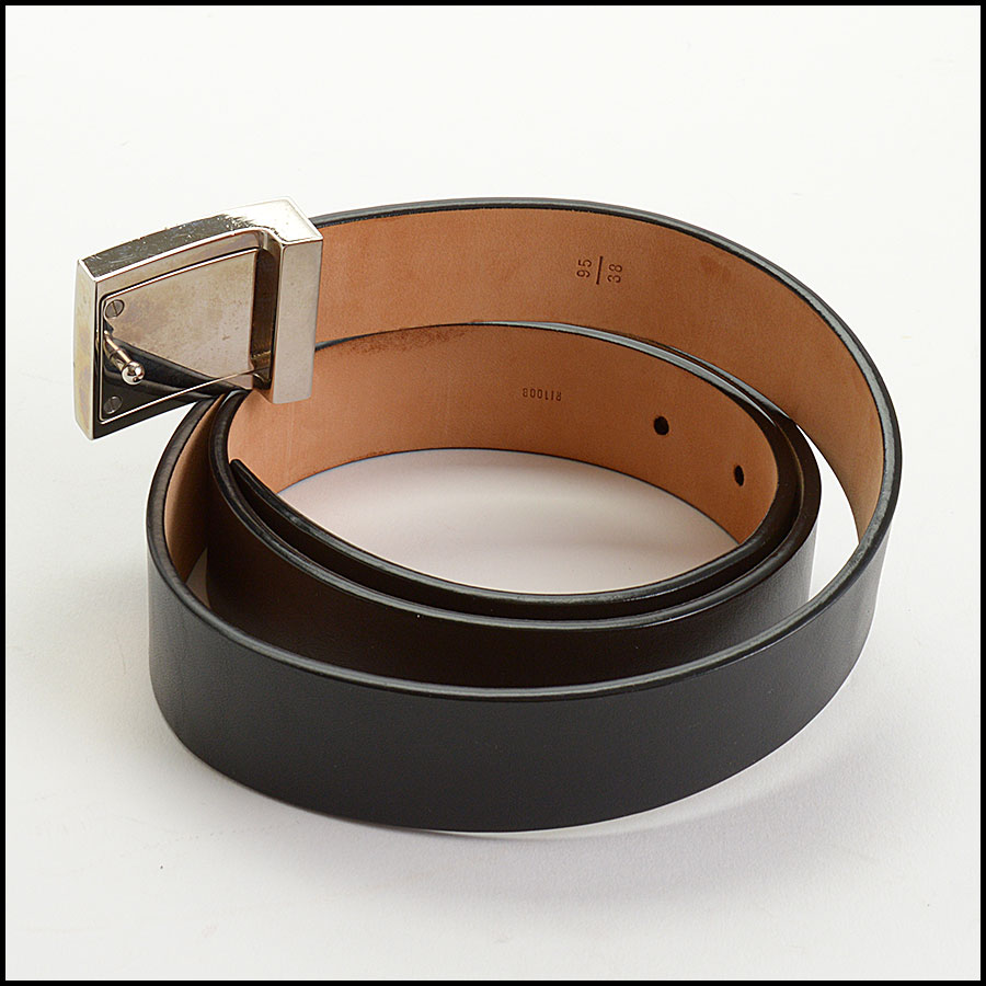 RDC10991 Louis Vuitton Black Leather Ceinture LV Stamp Belt back