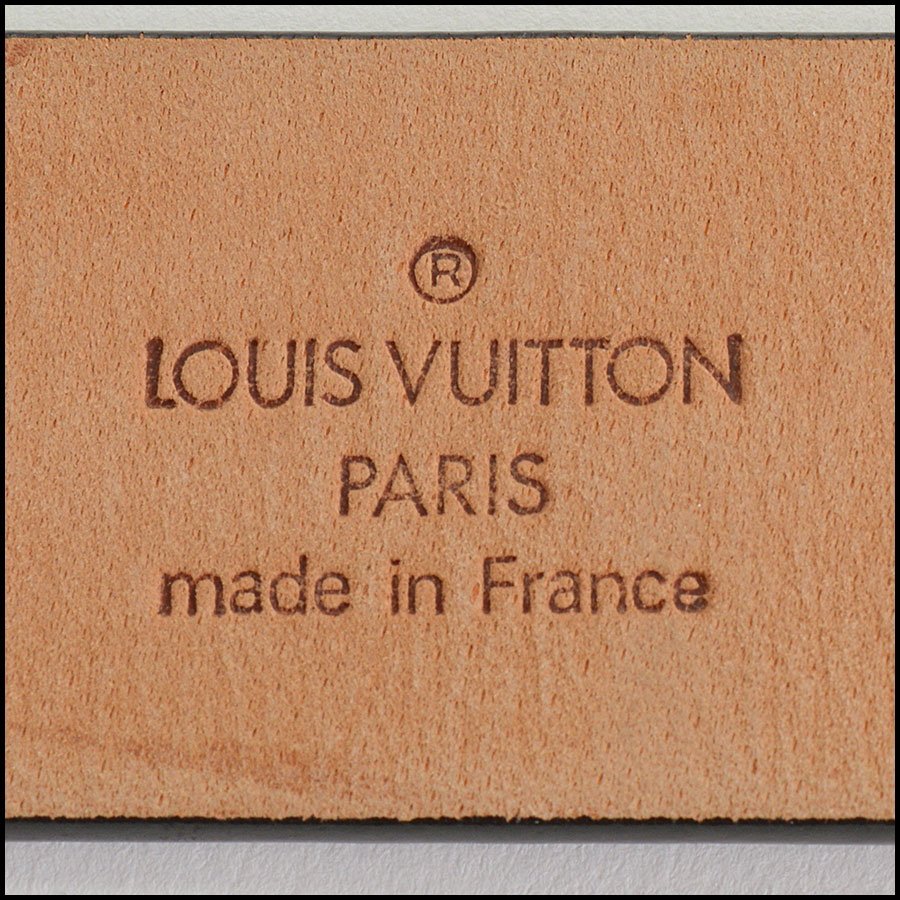 RDC10991 Louis Vuitton Black Leather Ceinture LV Stamp Belt tag 1