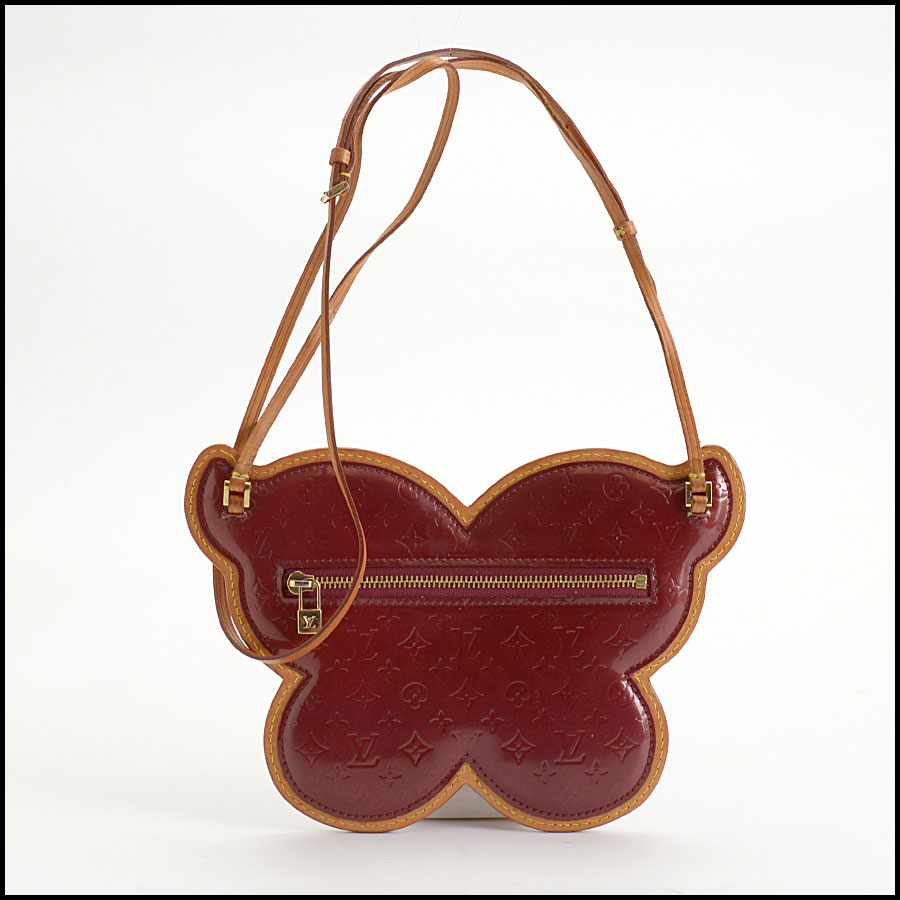 RDC10394 Louis Vuitton Red Vernis Butterfly Zip Pouch back