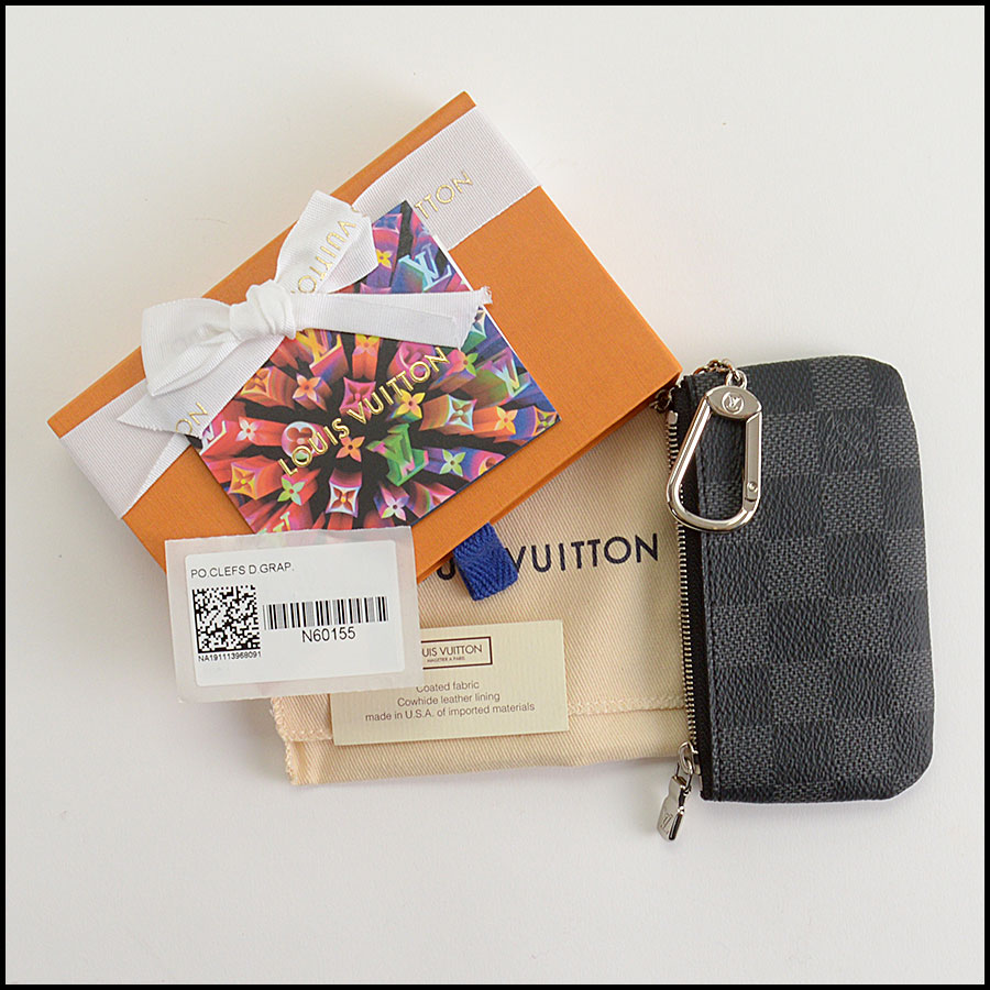 RDC11055 Louis Vuitton Damier Graphite Pochette Cles Coin Purse includes