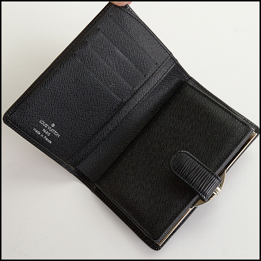 RDC10426 Louis Vuitton Black Epi Leather French Wallet inside 2