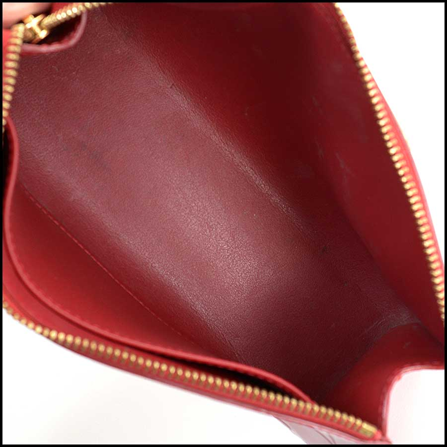 RDC11127 Louis Vuitton Red Vernis Trousse Cosmetic Pouch inside