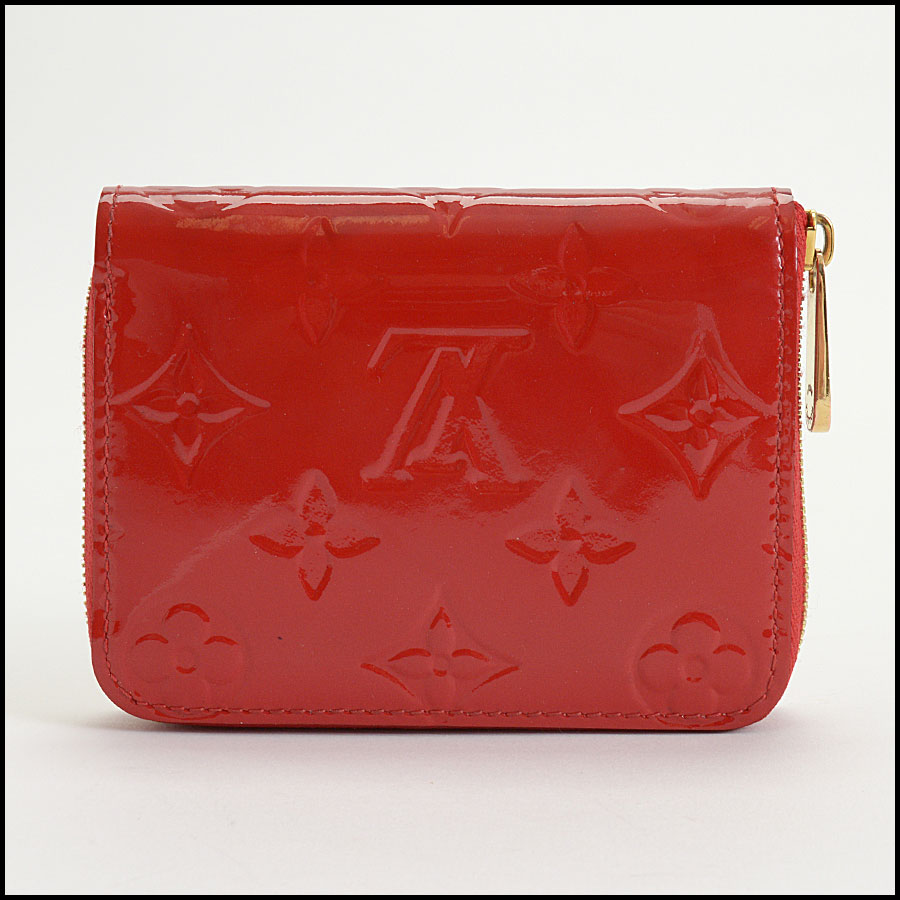 RDC10415 Louis Vuitton Red Vernis Zip Coin Wallet back