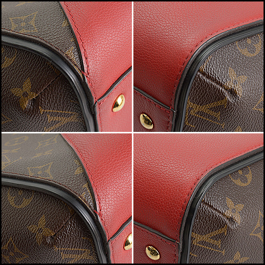 RDC10859 Louis Vuitton Monogram/Red Leather Kimono Tote corners
