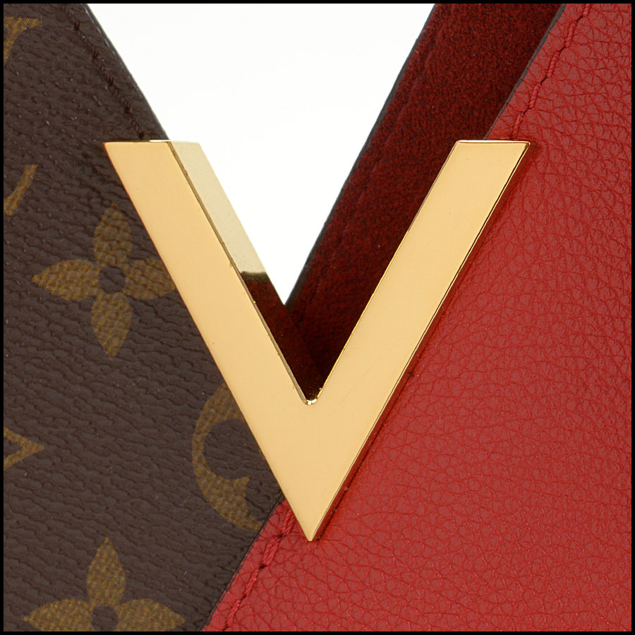 RDC10859 Louis Vuitton Monogram/Red Leather Kimono Tote close up
