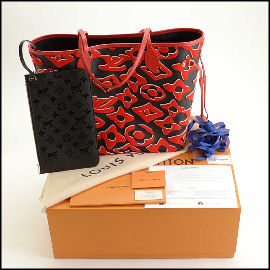 RDC11683 Louis Vuitton Black/Red LV x UF Neverfull Bag includes 1