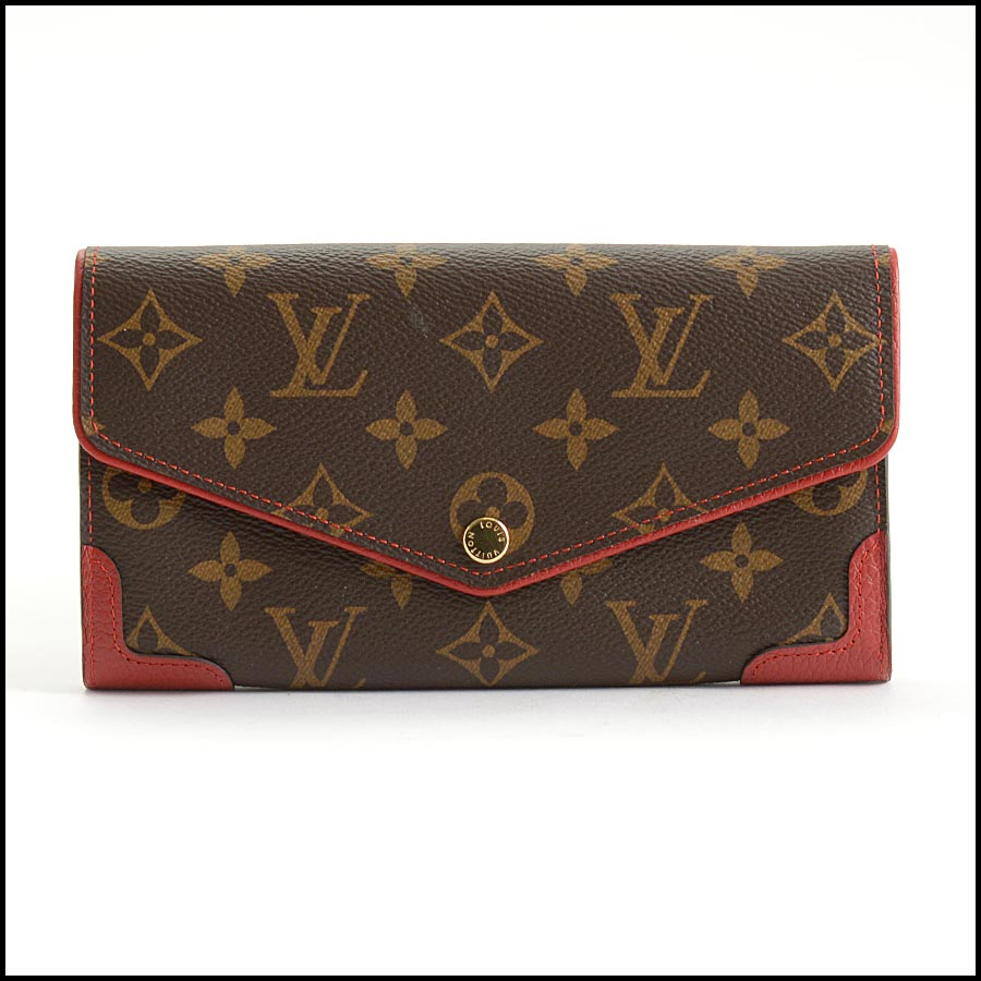 RDC11223 Louis Vuitton Monogram/Red Leather Sarah Wallet
