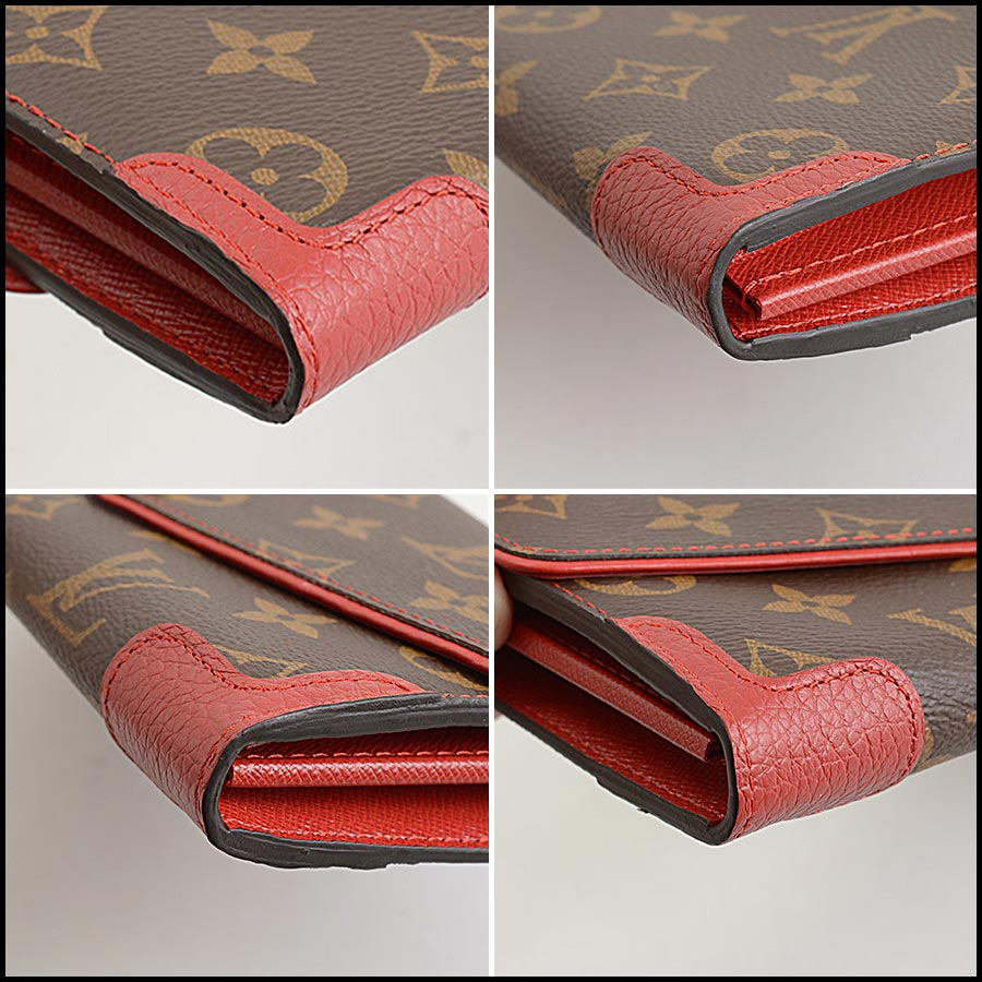 RDC11223 Louis Vuitton Monogram/Red Leather Sarah Wallet corners