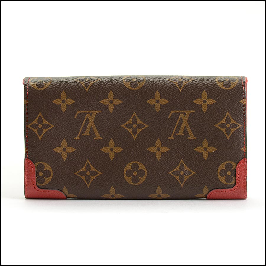 RDC11223 Louis Vuitton Monogram/Red Leather Sarah Wallet back