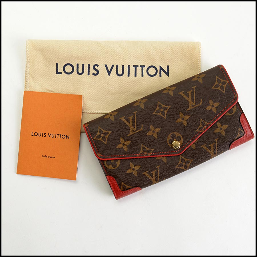 RDC11223 Louis Vuitton Monogram/Red Leather Sarah Wallet includes