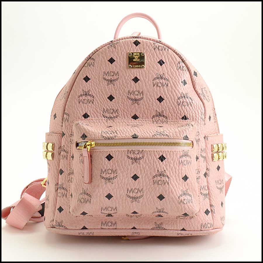 RDC11480 MCM Pink Coated Canvas Studded Backpack