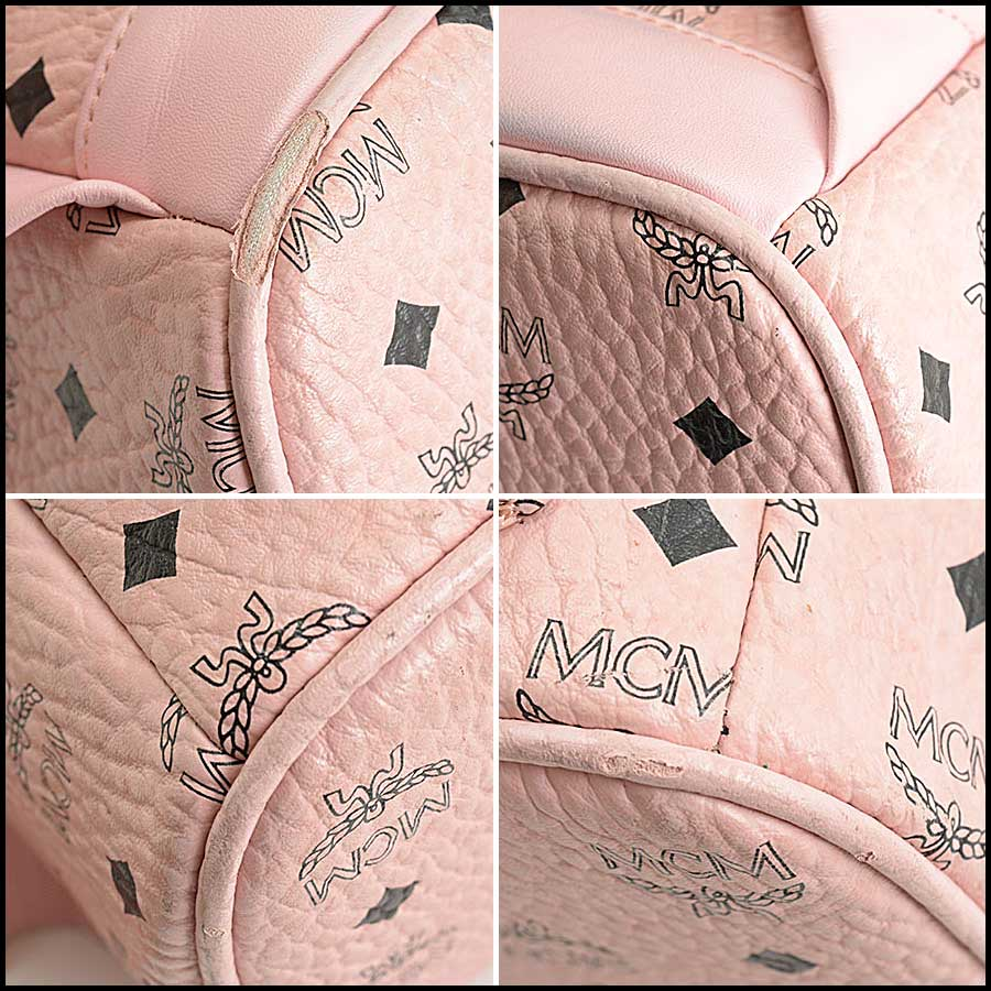 RDC11480 MCM Pink Coated Canvas Studded Backpack corners