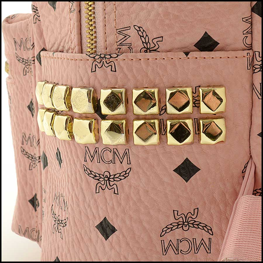RDC11480 MCM Pink Coated Canvas Studded Backpack close up
