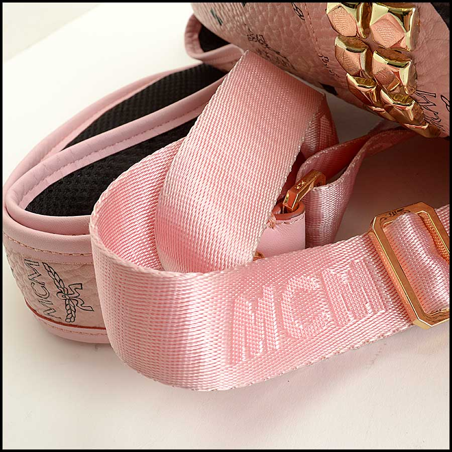 RDC11480 MCM Pink Coated Canvas Studded Backpack handle