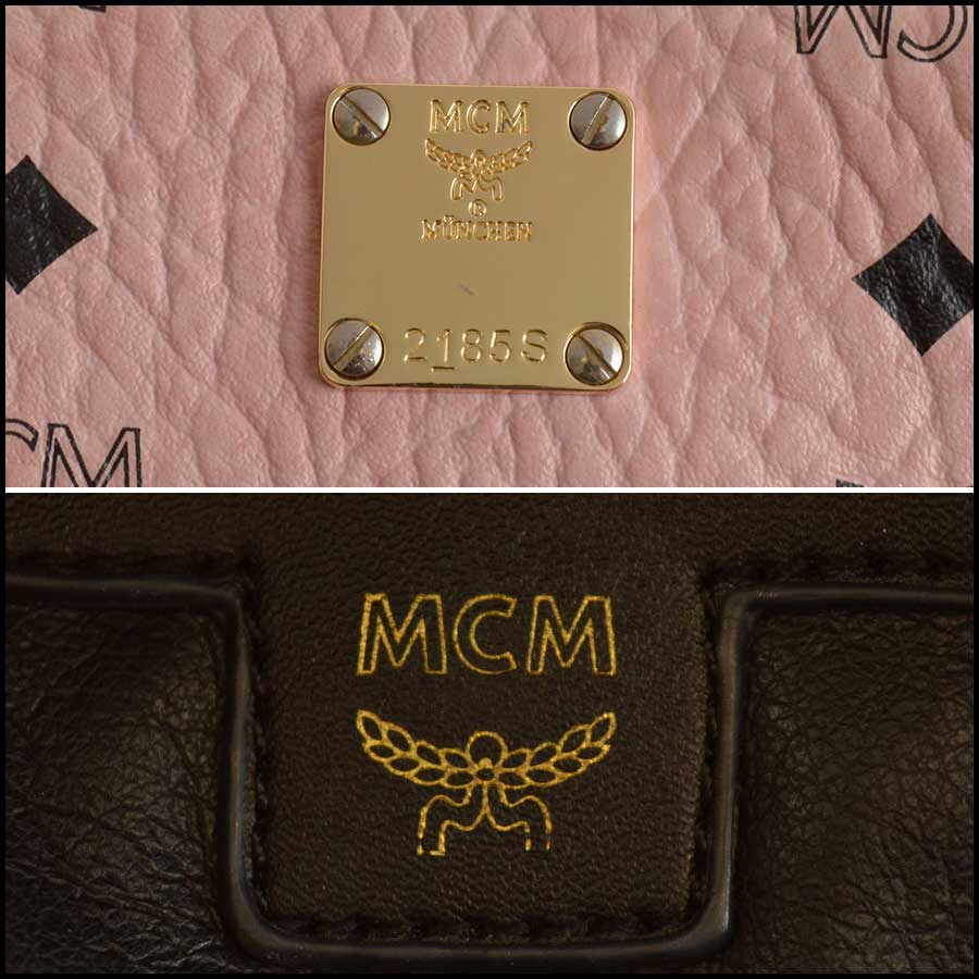 RDC11480 MCM Pink Coated Canvas Studded Backpack tag
