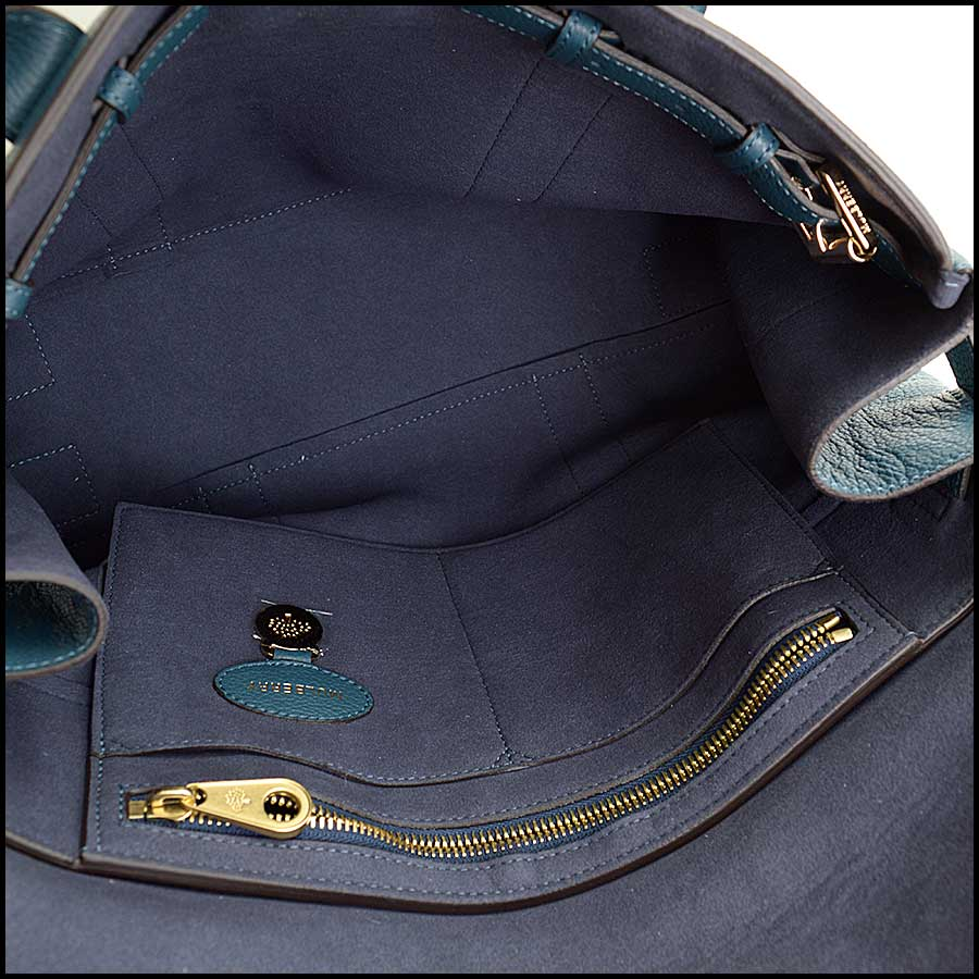 RDC11356 Mulberry Blue Classic Small Bayswater Tote inside