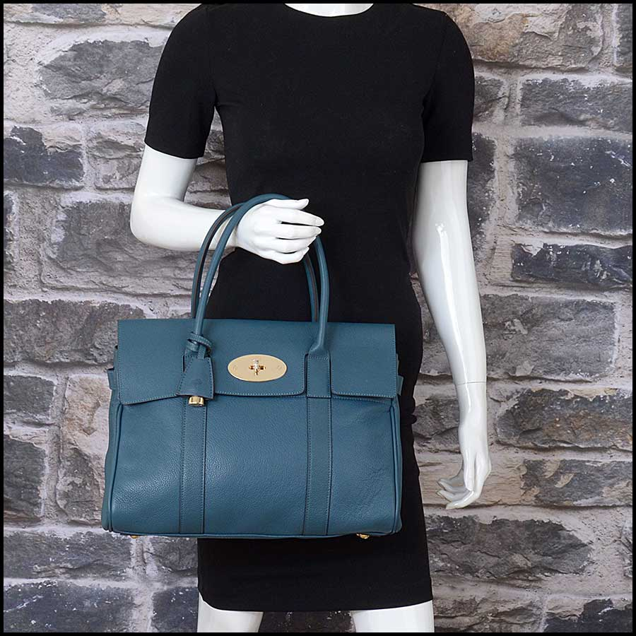 RDC11356 Mulberry Blue Classic Bayswater Tote model