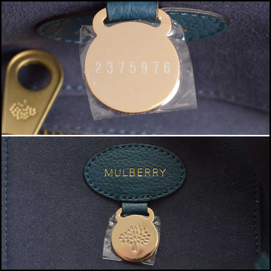 RDC11356 Mulberry Blue Classic Small Bayswater Tote tag 2