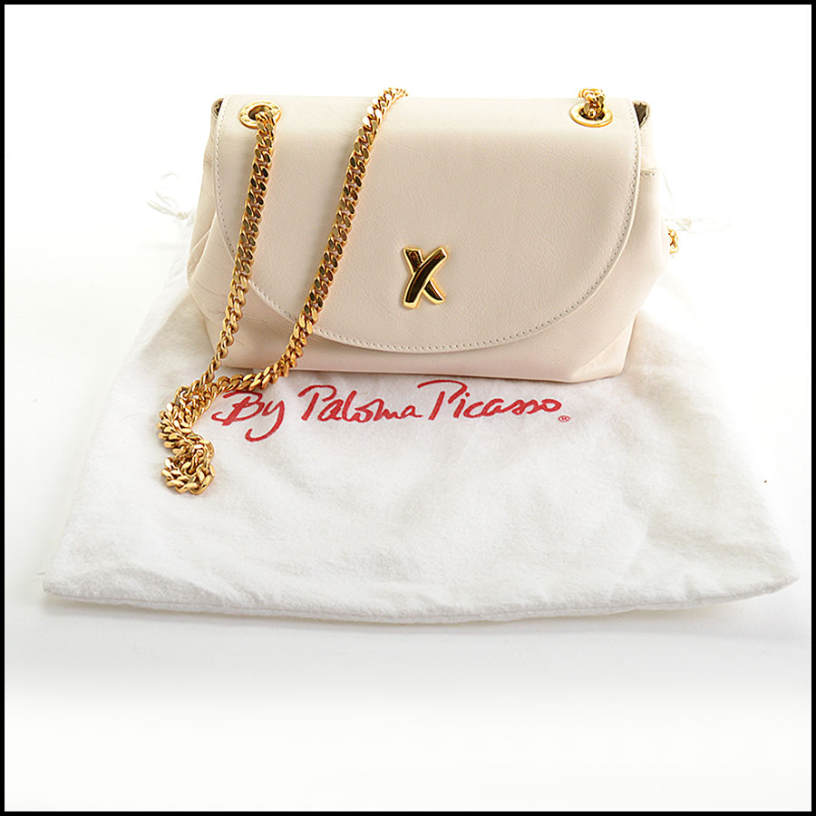 RDC11000 Paloma Picasso Ivory Leather Gold Chain Strap Bag