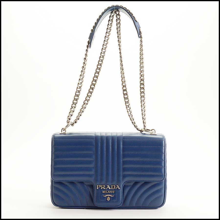 RDC11423 Prada Blue Quilted Diagramme Bag