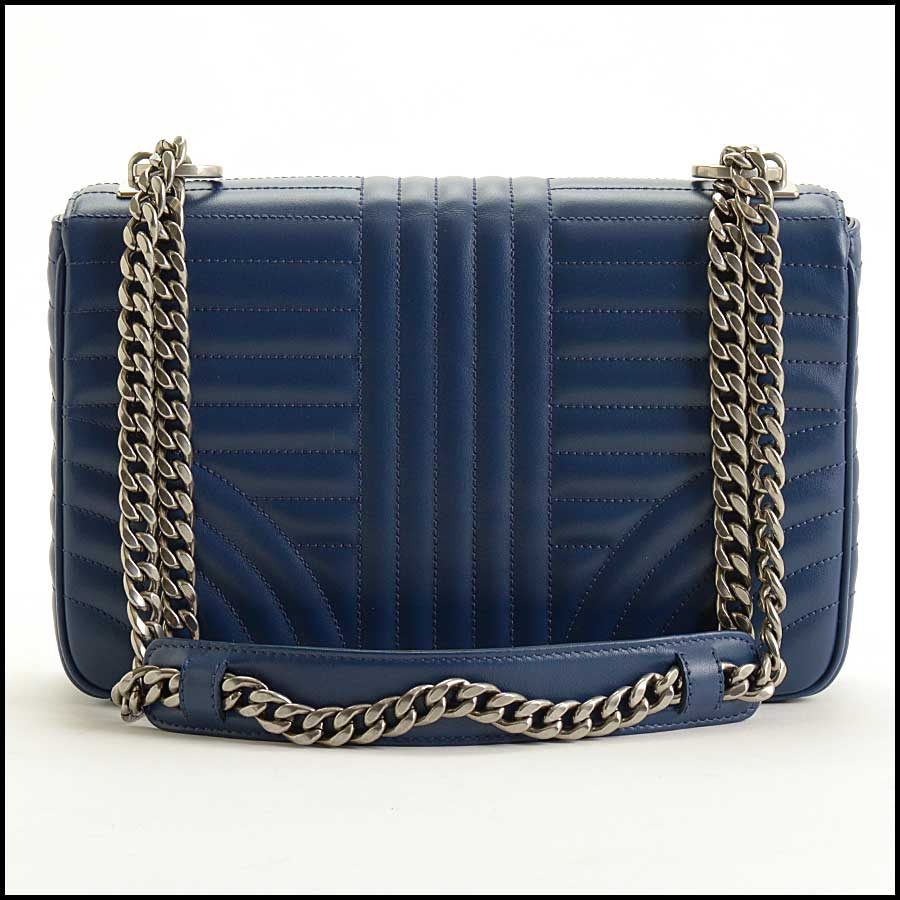 RDC11423 Prada Blue Quilted Diagramme Bag back