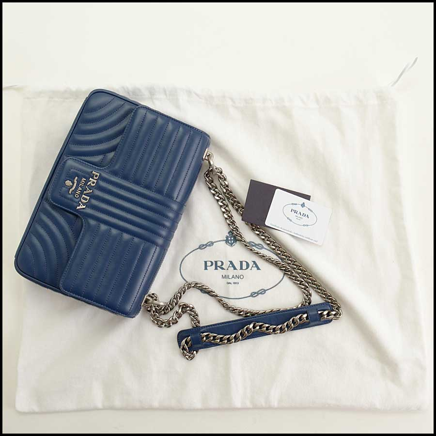 RDC11423 Prada Blue Quilted Diagramme Bag includes