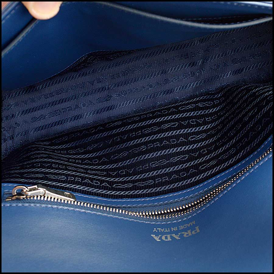 RDC11423 Prada Blue Quilted Diagramme Bag inside