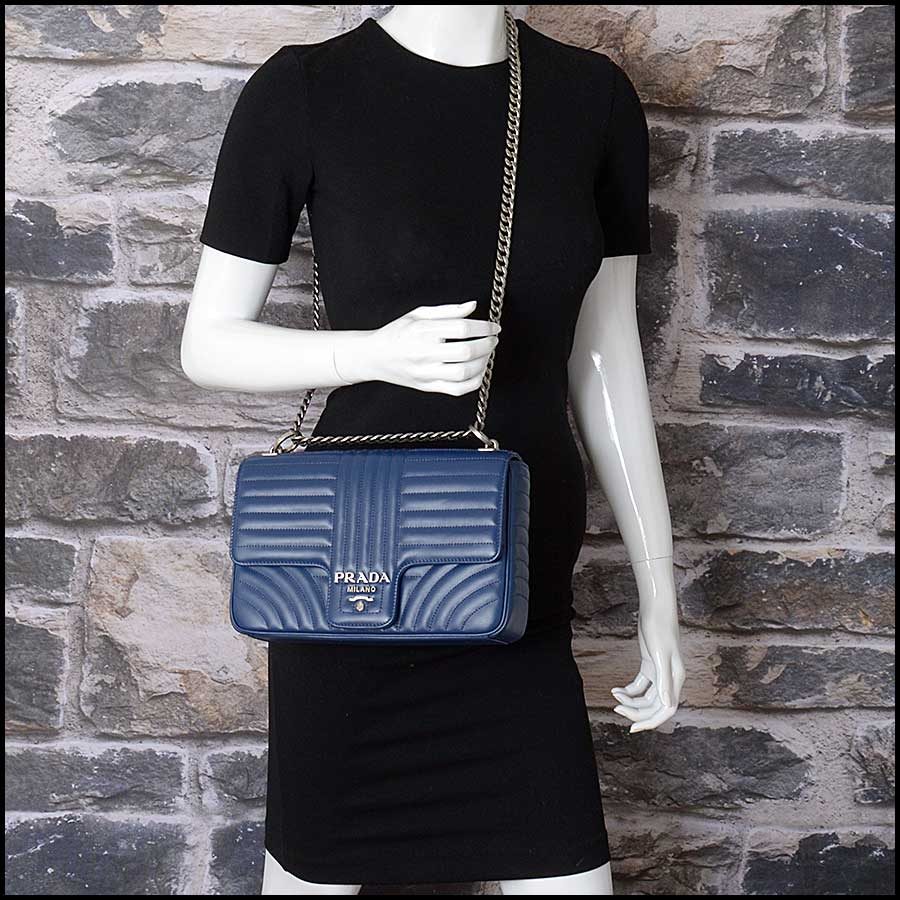 RDC11423 Prada Blue Quilted Diagramme Bag model