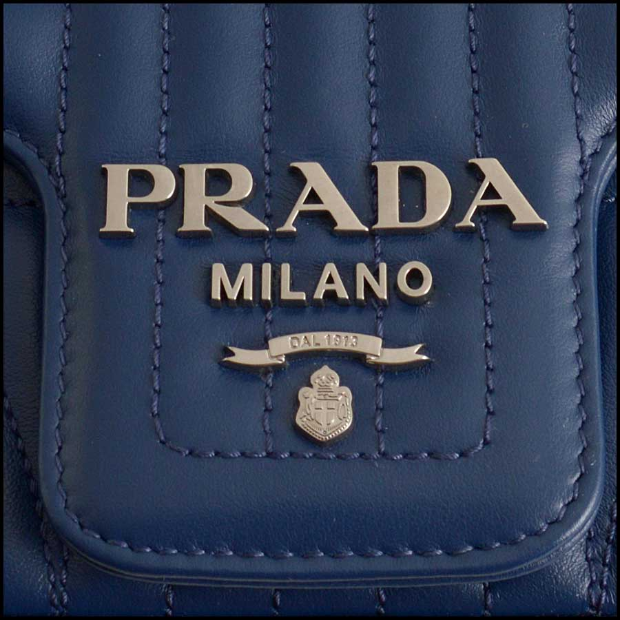 RDC11423 Prada Blue Quilted Diagramme Bag tag