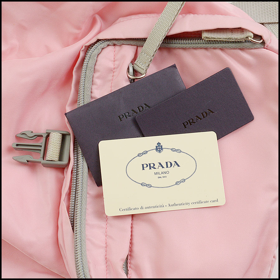 RDC10981 Prada Pink Nylon Small Backpack includes