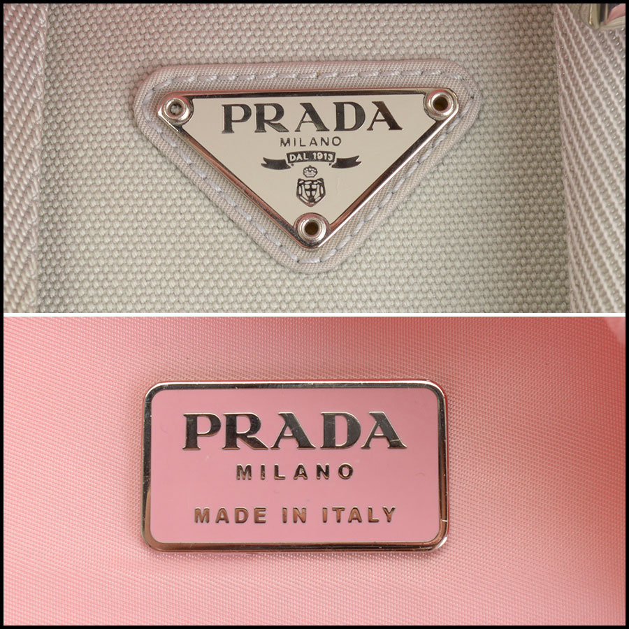 RDC10981 Prada Pink Nylon Small Backpack tag