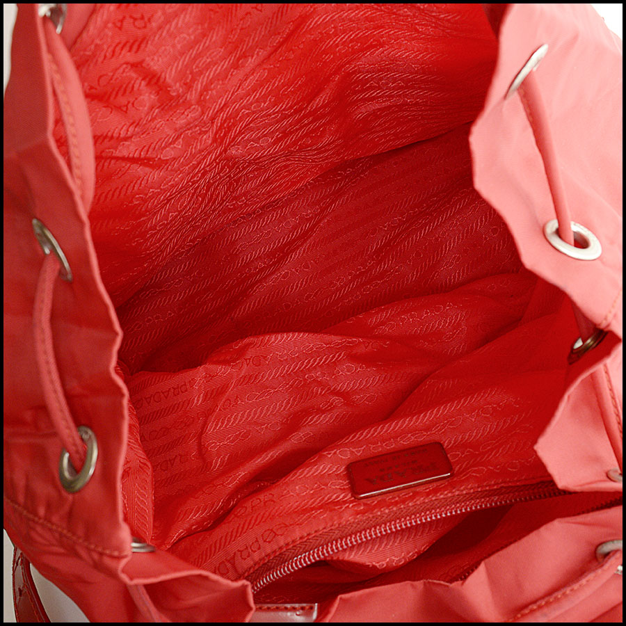 RDC10851 Prada Red Nylon Backpack inside