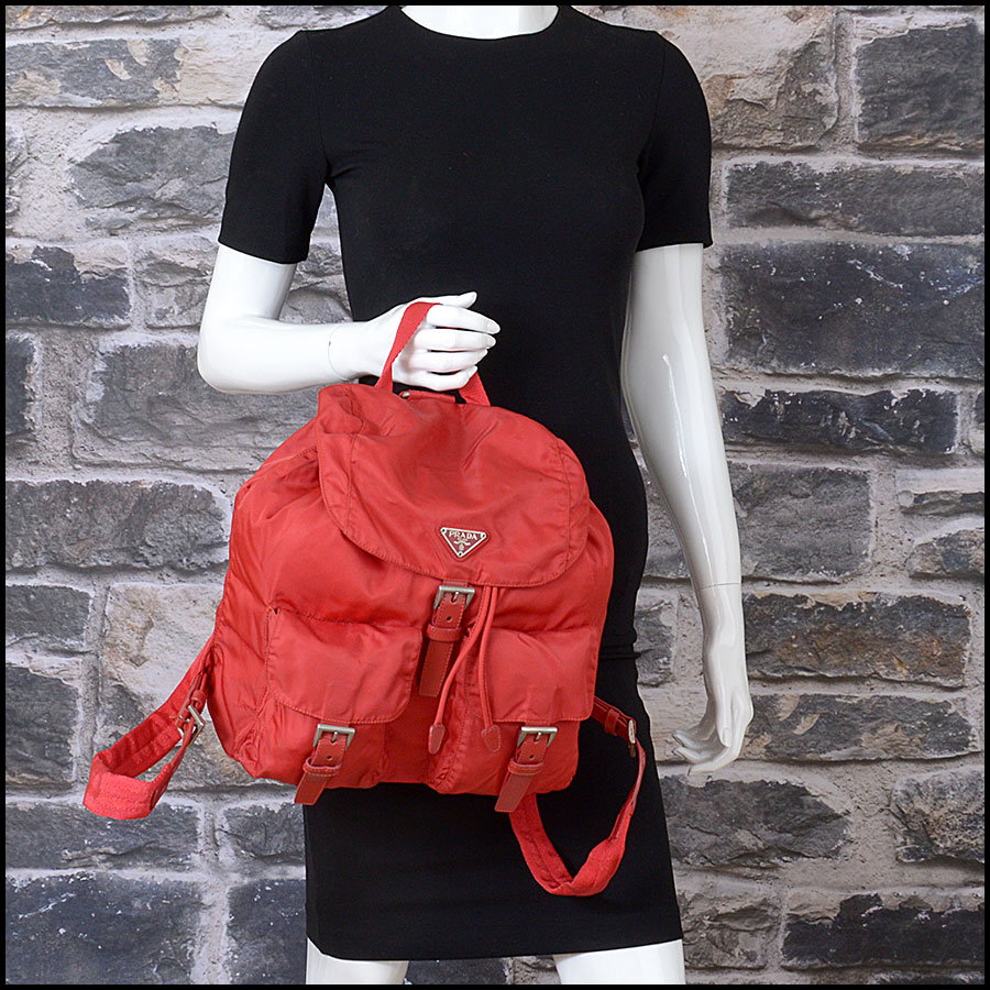 RDC10851 Prada Red Nylon Backpack model