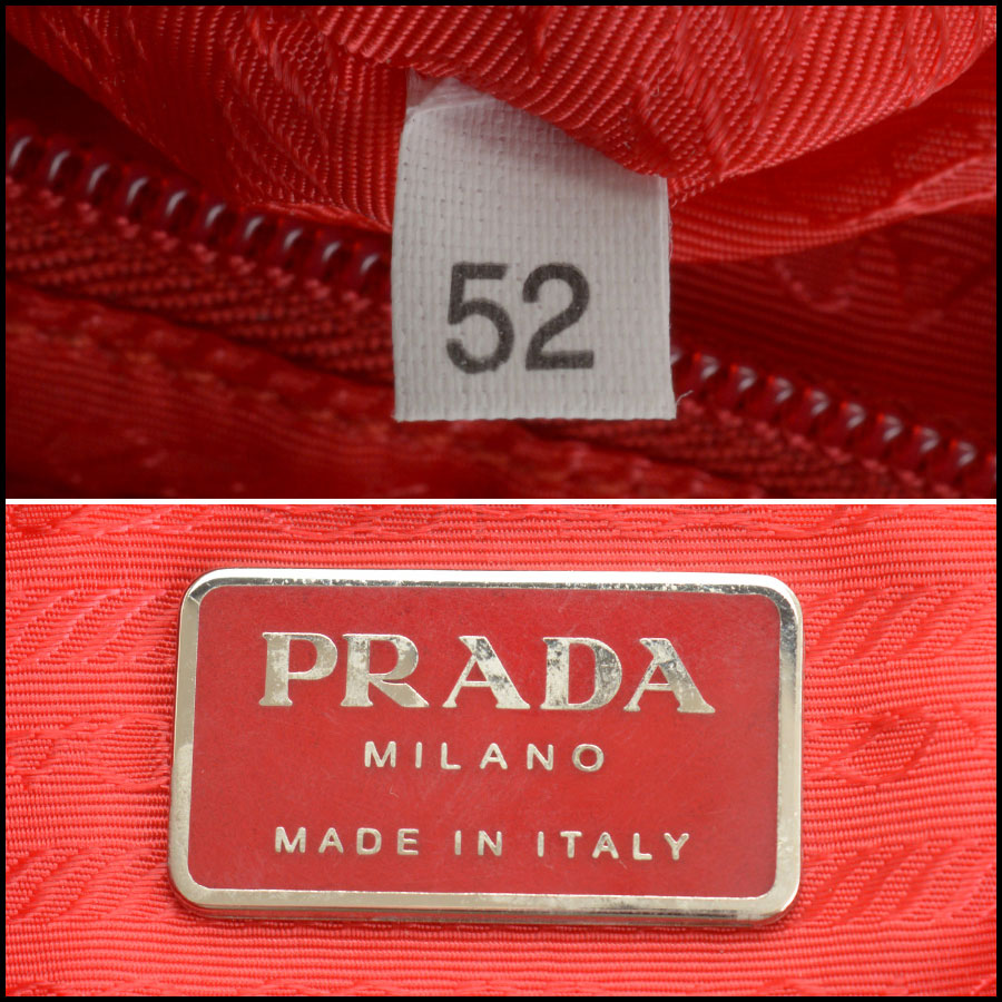 RDC10851 Prada Red Nylon Backpack tag