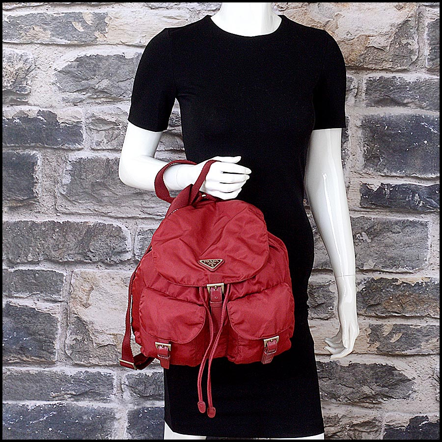 RDC11285 Prada Red Nylon Backpack model