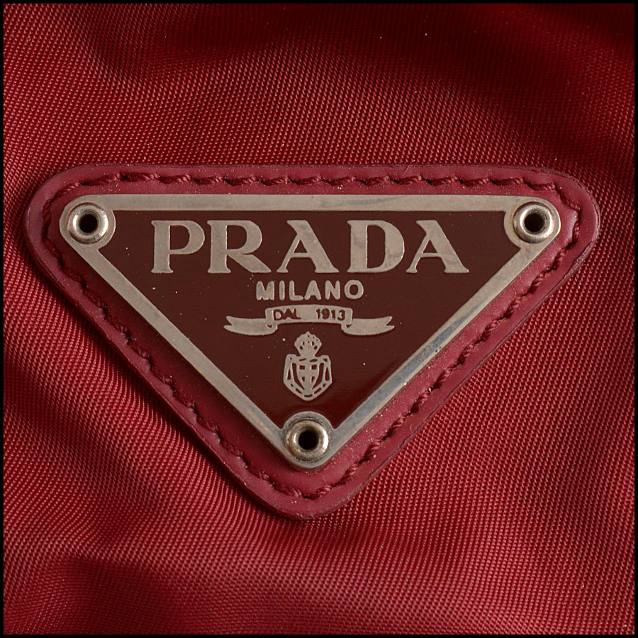 RDC11285 Prada Red Nylon Backpack tag
