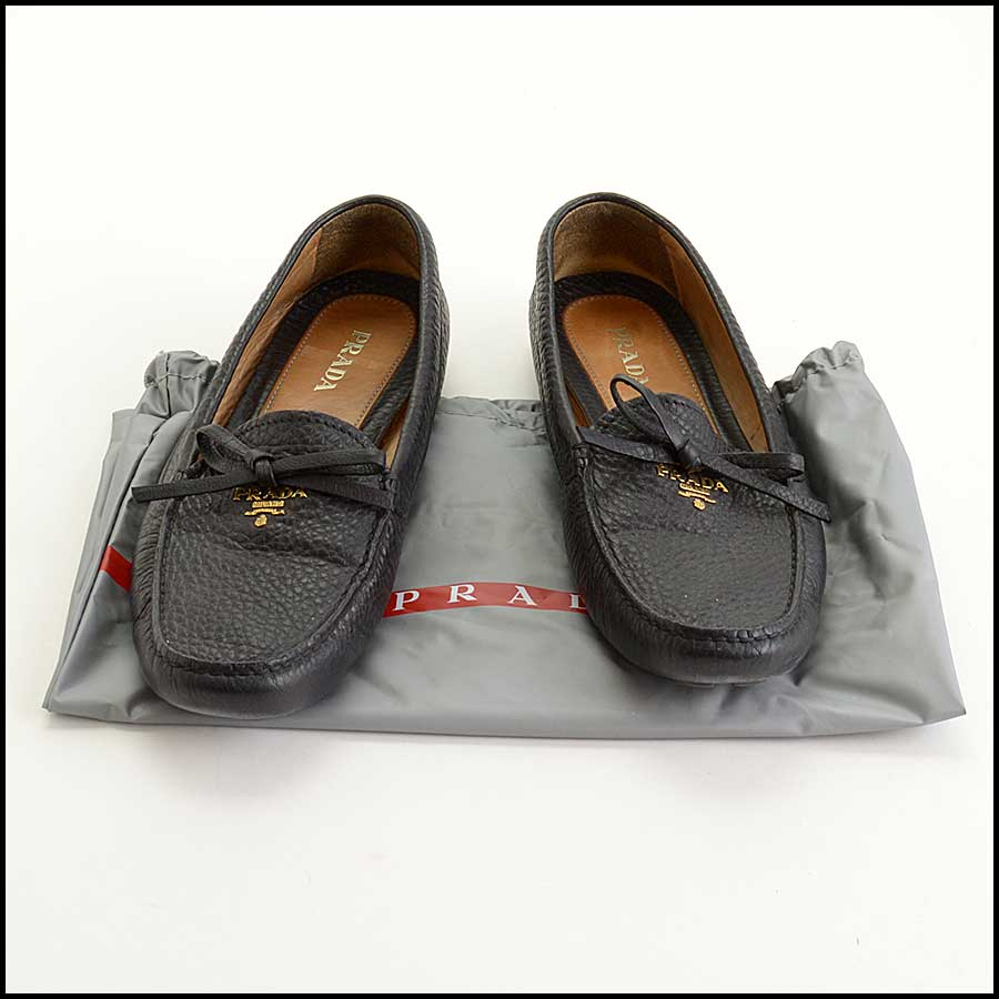 RDC11384 Prada Black Leather Driving Loafers Size 41
