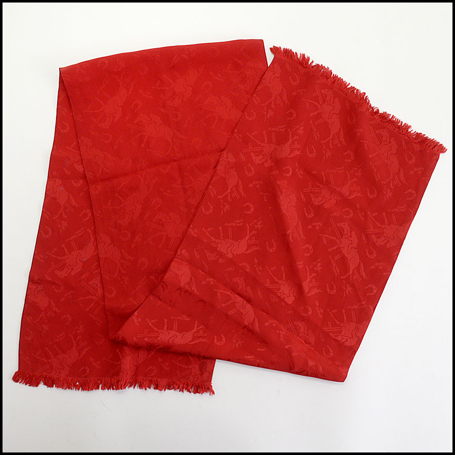 RDC10441 Ralph Lauren Vintage Red Silk Long Scarf