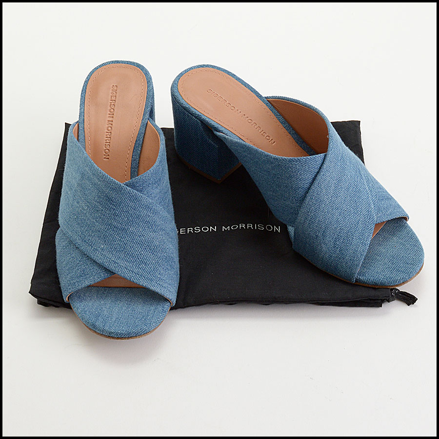 RDC10433 Size 8.5 Sigerson Morrison Denim Slide Sandals