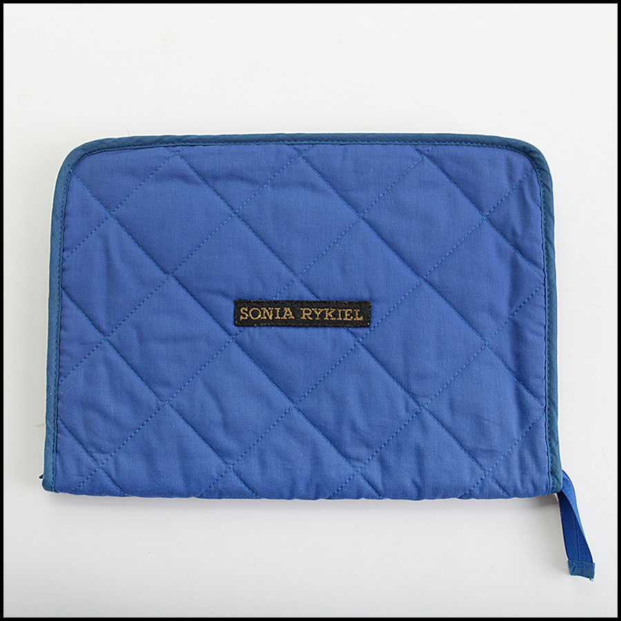 RDC11003 Sonia Rykiel Blue Quilted Fabric Clutch